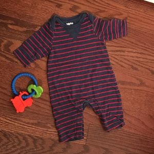 0-3 Month Baby Boy Blue and Red  Stripe Romper